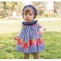 2155 dolce petit baby dress with panties and navy floral hood