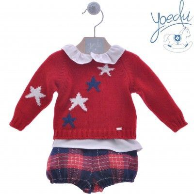 YOEDU red 3-piece baby set with stars