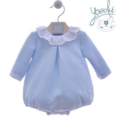 Blue baby bloomers with polka dots collar Canesu Yoedu