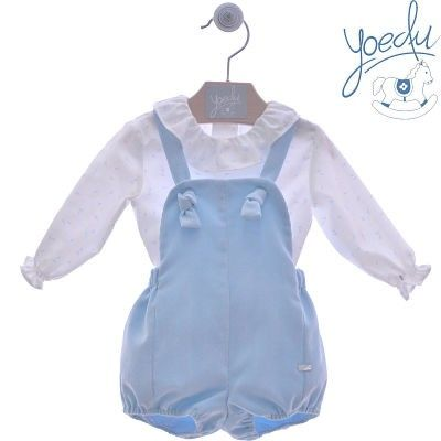 Yoedu baby blue shirt and overalls leggings set