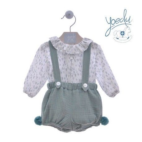 Set baby bib and green tone VIYELA Yoedu