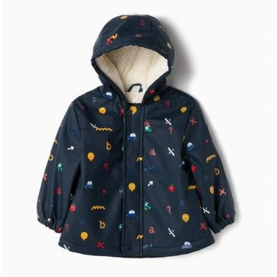 Baby boy's coat / parka with hood and print