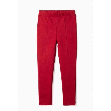 Girl leggings with red folds in roma knit