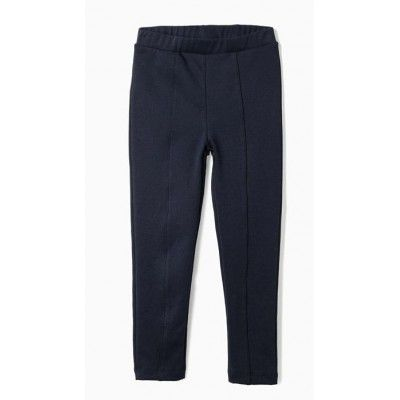 Girl's navy blue roma knit leggings elastic