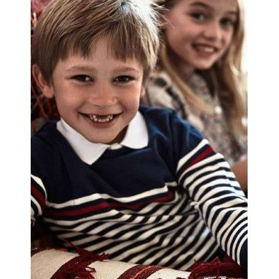 Dark blue striped sweater for children boy