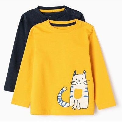 Pack 2 camisetas de manga larga bebé niño cat
