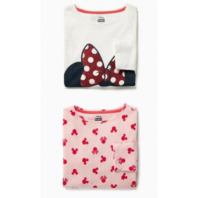 Pack de 2 camisetas de manga larga minnie bebé