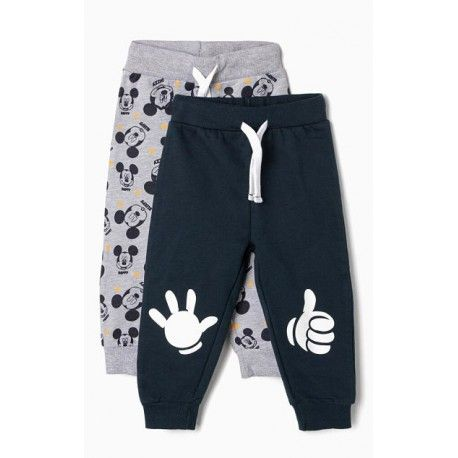 2 gray and blue Mickey baby boy tracksuit pants