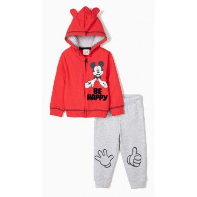Mickey be Happy baby boy tracksuit in red and gray