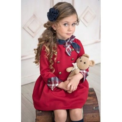 Maroon Miranda children's dress with checkered bow