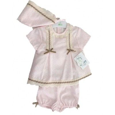 Alves pink baby dress with matching knickers and bonnet