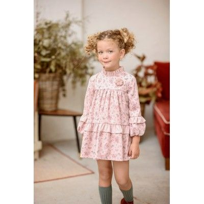 Deal Yoedu Pink Flower Print Kids Dress