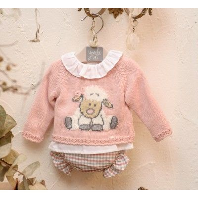 Baby set 3 pieces pink sheep with bow Yoedu