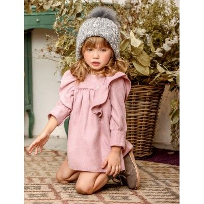 Yoedu ruffled wool family children's pink dress