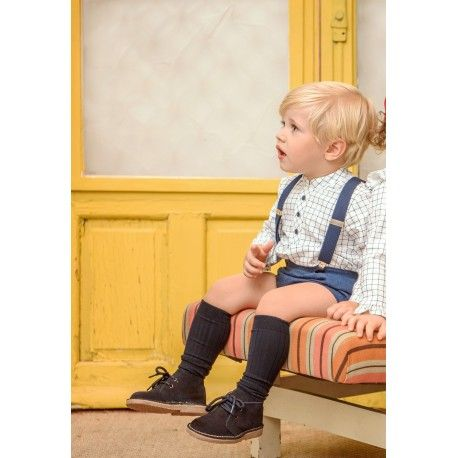 Blue baby boy set with suspenders and Yoedu checked shirt