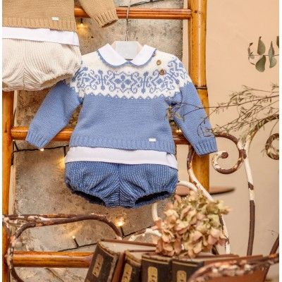 Greca blue baby three-piece set Yoedu