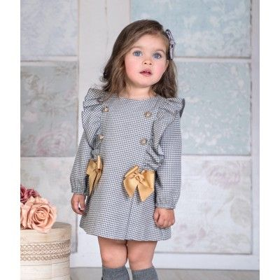Miranda Textil baby gray check dress autumn / winter