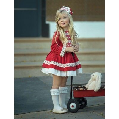 Red children's dress with flare Miranda Textil autumn / winter