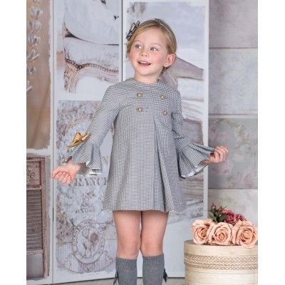 Children's gray dress Miranda Textil autumn with buttons