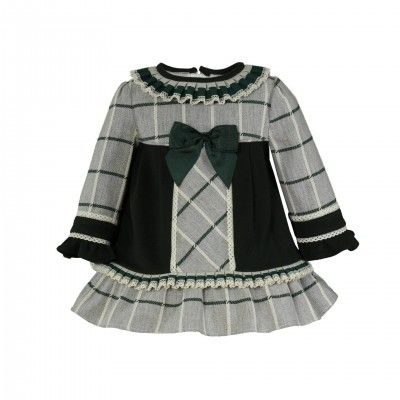 Green checked dress with flare and bow MIRANDA TEXTIL