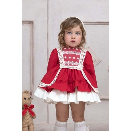 Baby dress with red hood and flared skirt Miranda Textil