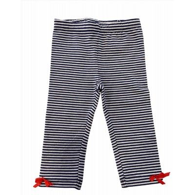 Blue and white striped baby leggings UBS2