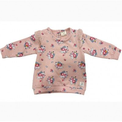 Pink baby girl sweatshirt with zippy print
