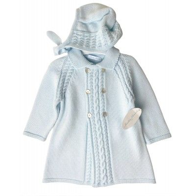Blue baby boy coat with Martín Aranda hat