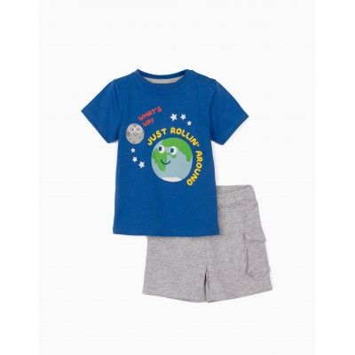 T-shirt and shorts baby boy JUST ROLLIN blue / gray Zippy