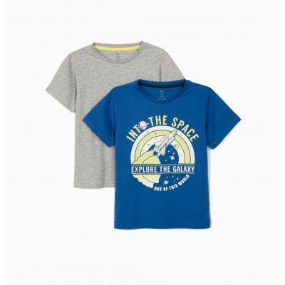 Pack de 2 camisetas niño EXPLORE THE GALAXY', azul/gris zippy