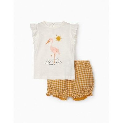Baby girl yellow vichy zippy t-shirt and shorts set