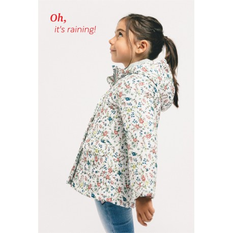 Children's padded jacket with flower print