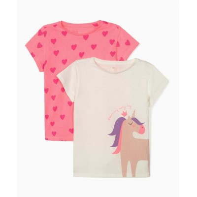 Pack of 2 girls t-shirt Unicorn and Zippy hearts