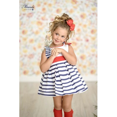 Children's navy striped dress Miranda Textil 0259