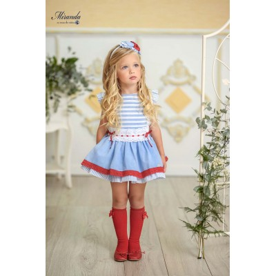 Miranda children's blue striped dress with red ribbons 0288 / V