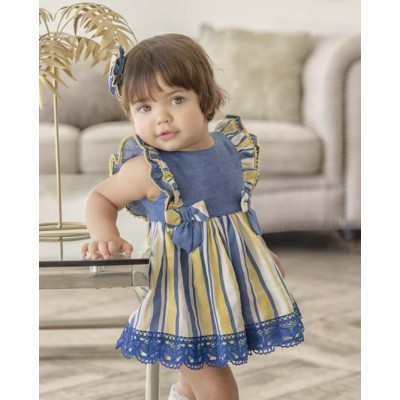 Baby dress with striped blue briefs MIRANDA TEXTIL