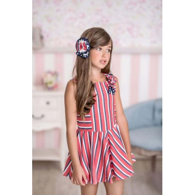 Miranda Red striped children's textile dress