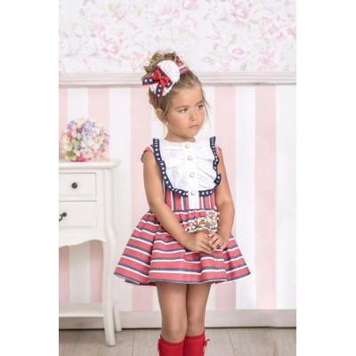 Red children's dress with stripes Miranda Textil 0283