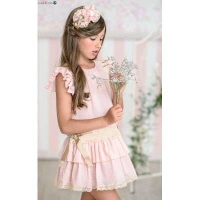 Miranda Textile children's dress plumeti pale pink 0392 / V