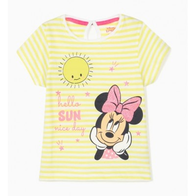 Striped T-shirt for baby girl in lime yellow Minnie