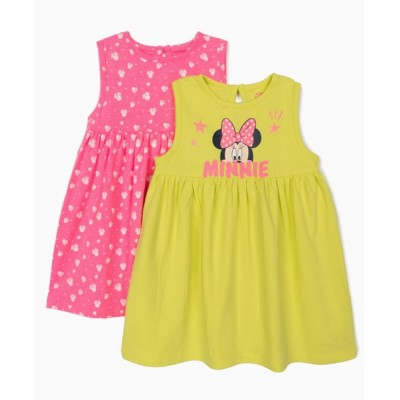 2-pack baby Minnie Mouse dresses lime yellow and pink