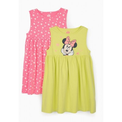 2-pack of Minnie Mouse children's dresses in lime yellow and pink