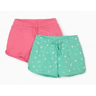 Pack of 2 pink and aqua green shorts for children girl